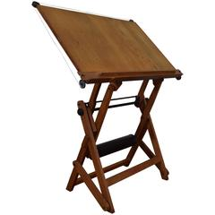 Mid-20th Century French Drafting Table in Wood, Iron and Metal, Stamped Studio