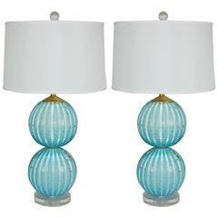 Pair of Stacked Two Ball Lamps in Dreamy Blue with Gold Dust
