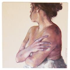 Female Figure Oil Painting on Wood by Macu Jorda