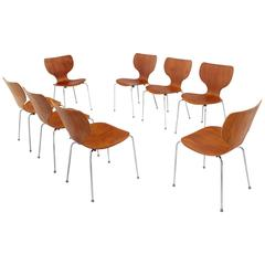 Set of Eight Molded Teak Danish Modern Stacking Dining Chairs