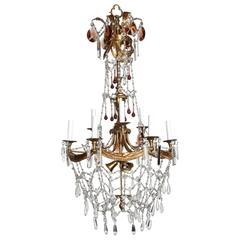 Tall French Nine-Arm Brass and Crystal Chandelier