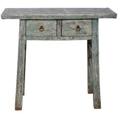 Small Primitive Two-Drawer Chinese Blue Painted Table