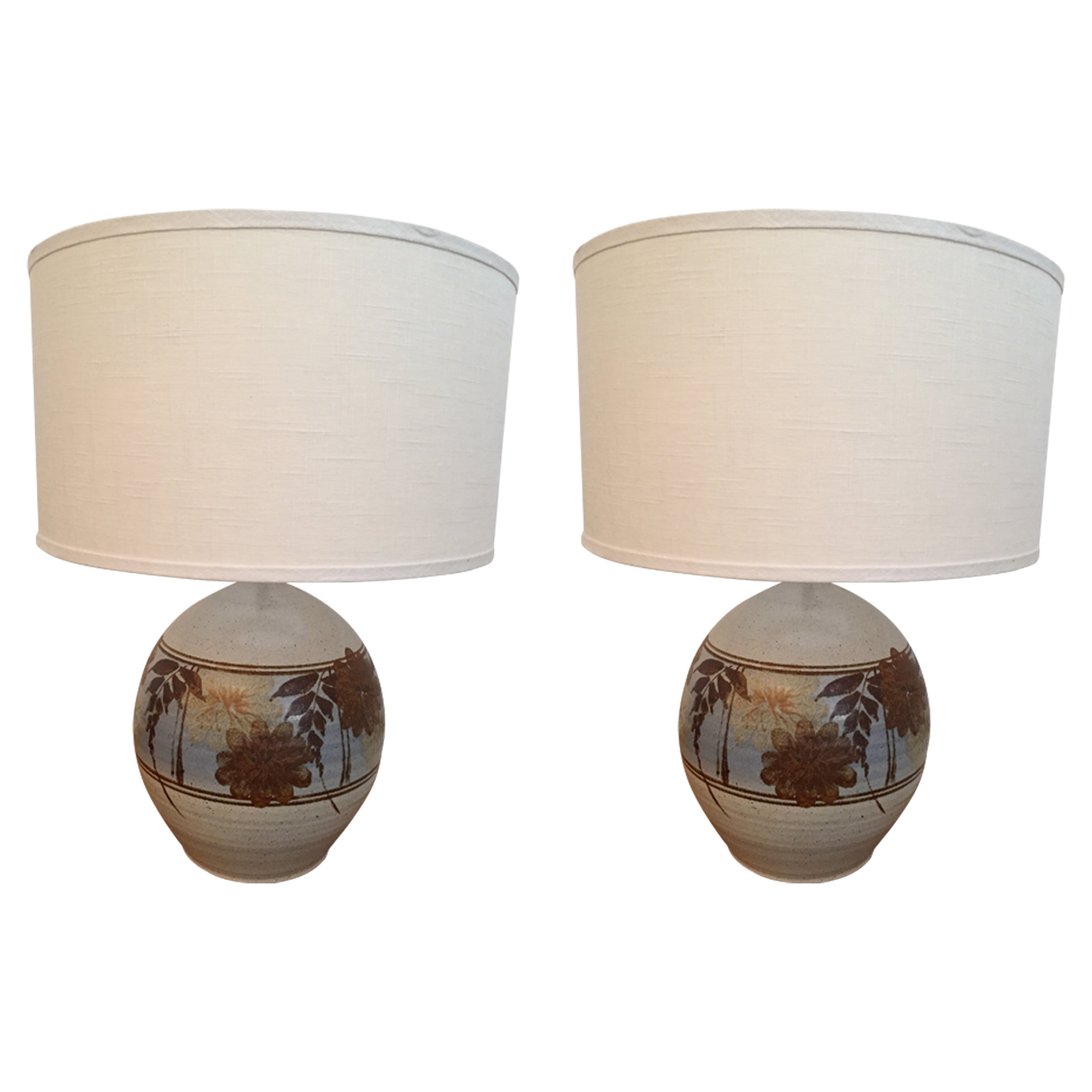 Pair of California Art Pottery 1970s Table Lamps