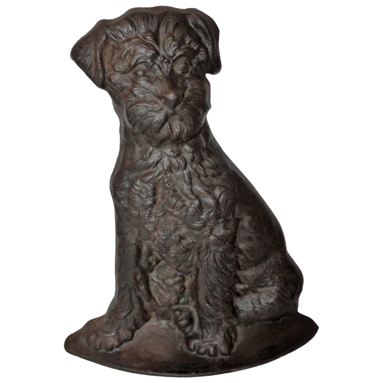 Monumental 19Thc Cast Iron Dog