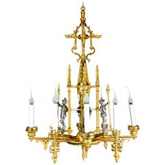 French Louis XVI Style Gilt and Silvered Bronze Figural Chandelier
