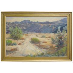 Vintage Palm Springs Desert Landscape Original Oil Painting