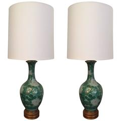 Pair of Marbro 1950s Mid-Century America Moriage Table Lamps