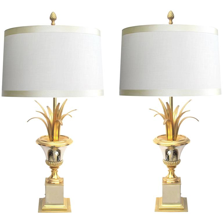 Good Quality Pair of French Maison Charles Style Brass and Steel Urn-Form Lamps