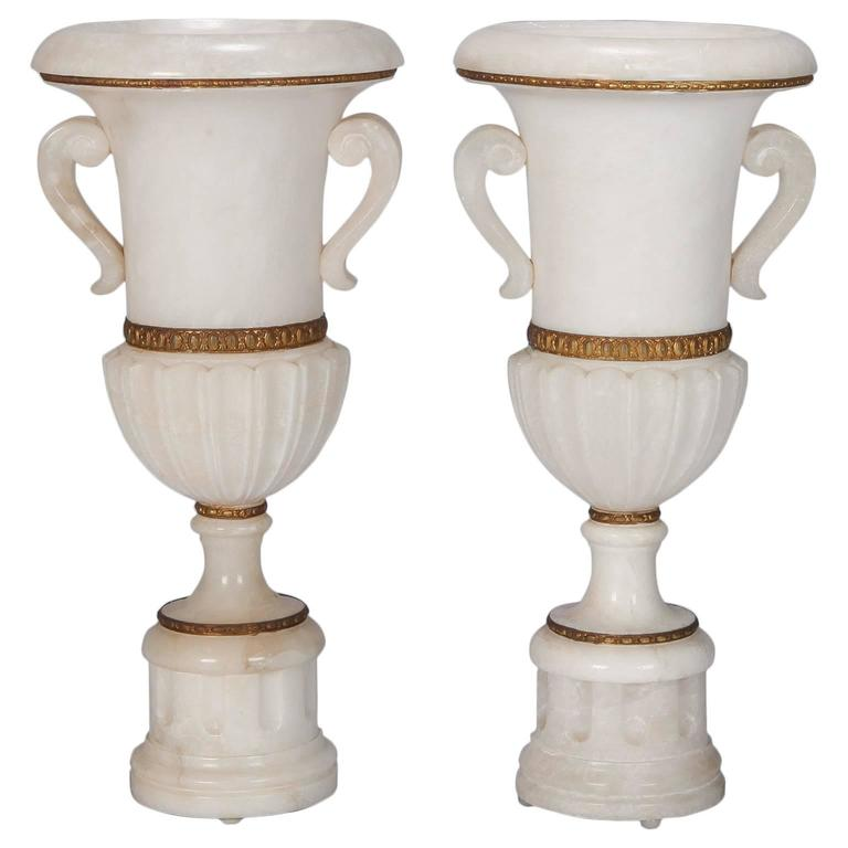 Pair of Tall Urn Form Alabaster and Bronze Lamps