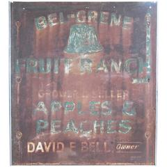 Vintage 1950s Hand-Painted Steel Fruit Ranch Sign
