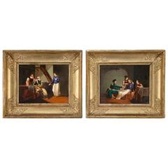 Pair of 19th Century French Hand Painted Porcelain Plaques in Gilt Frames
