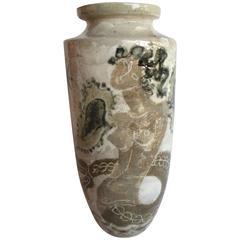 Mid-Century Modern Rene Buthaud French Ceramic Glazed Vase