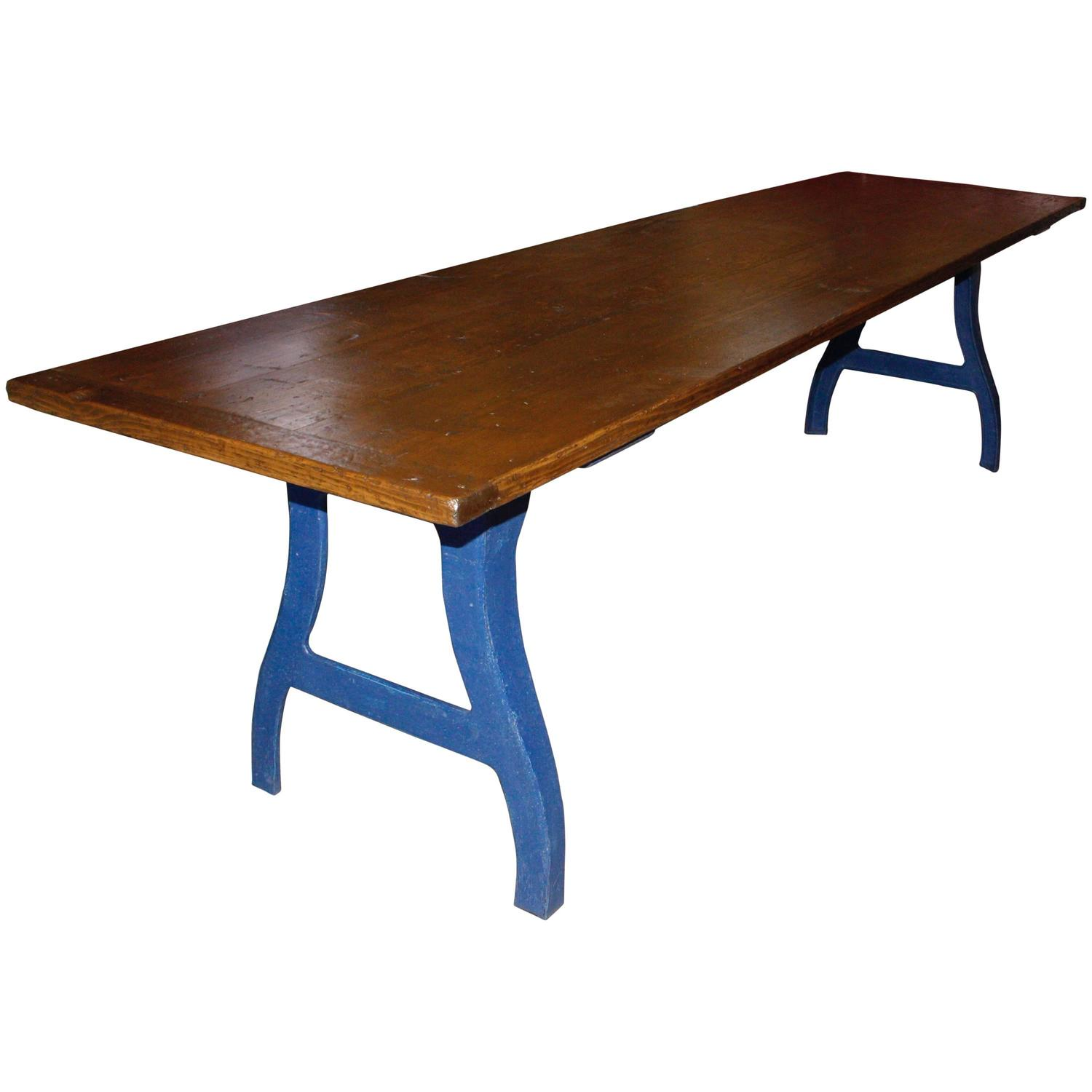 Long industrial work table at 1stdibs
