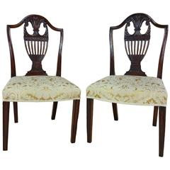 Pair of George III Carved Mahogany Side Chairs