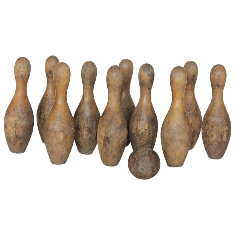 Antique Wood Bowling Set