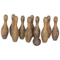 Antique Wood Bowling Set