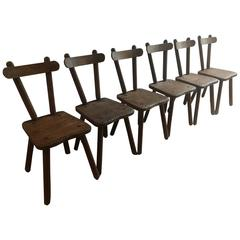 Set of Six Stained Oak Chairs, France, 1950s