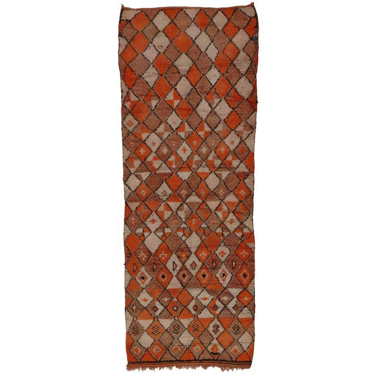 Mid-Century Modern Style Berber Moroccan Carpet Runner with Diamonds