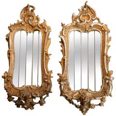 Fantastic Pair of Italian Mirrors, Giltwood and Silvered Wood, 18th Century