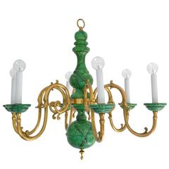 Hollywood Regency Turned Wood and Brass Six-Arm Chandelier