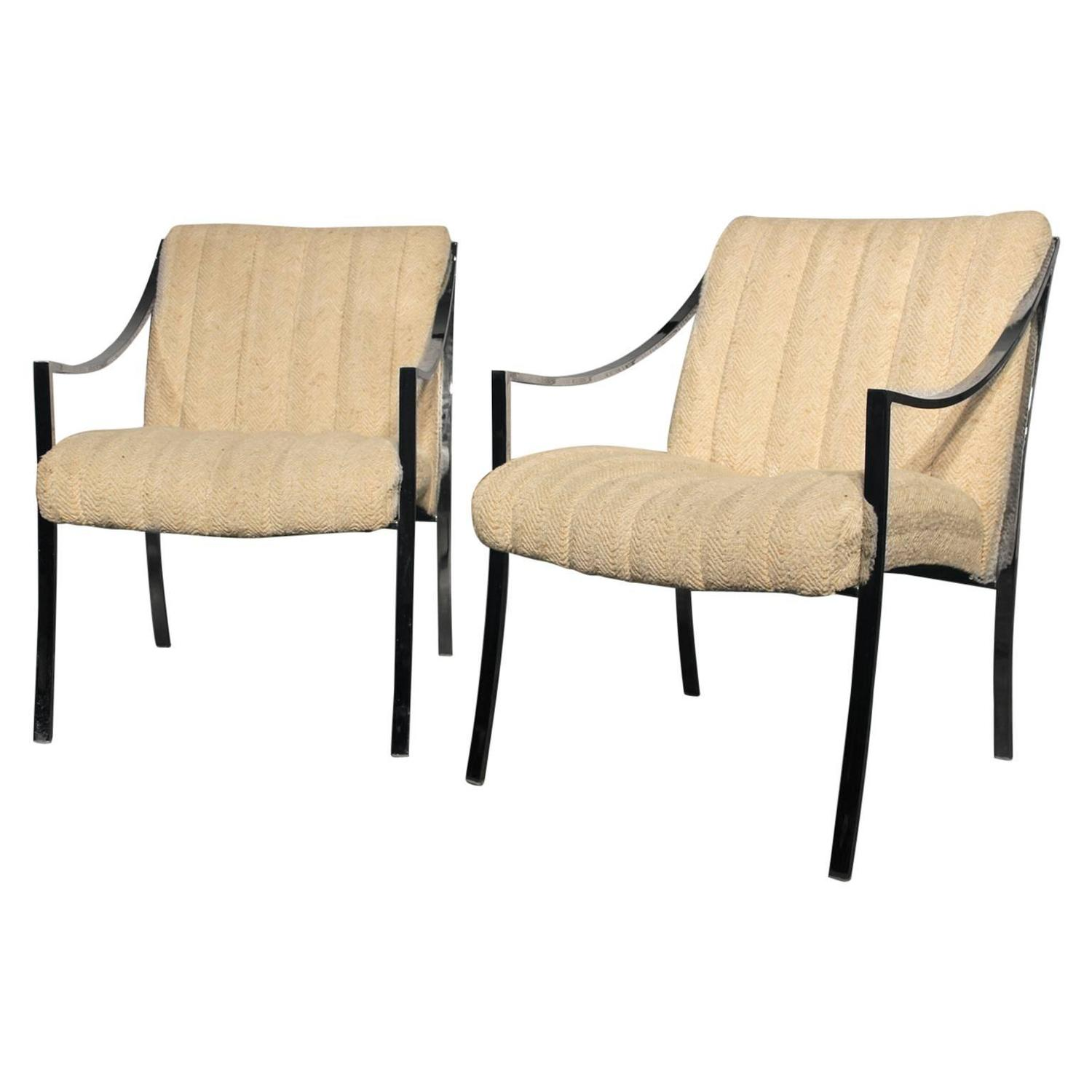 Pair Vintage Milo Baughman Style Chrome Chairs with Oatmeal Colored Upholstery For Sale at 1stdibs