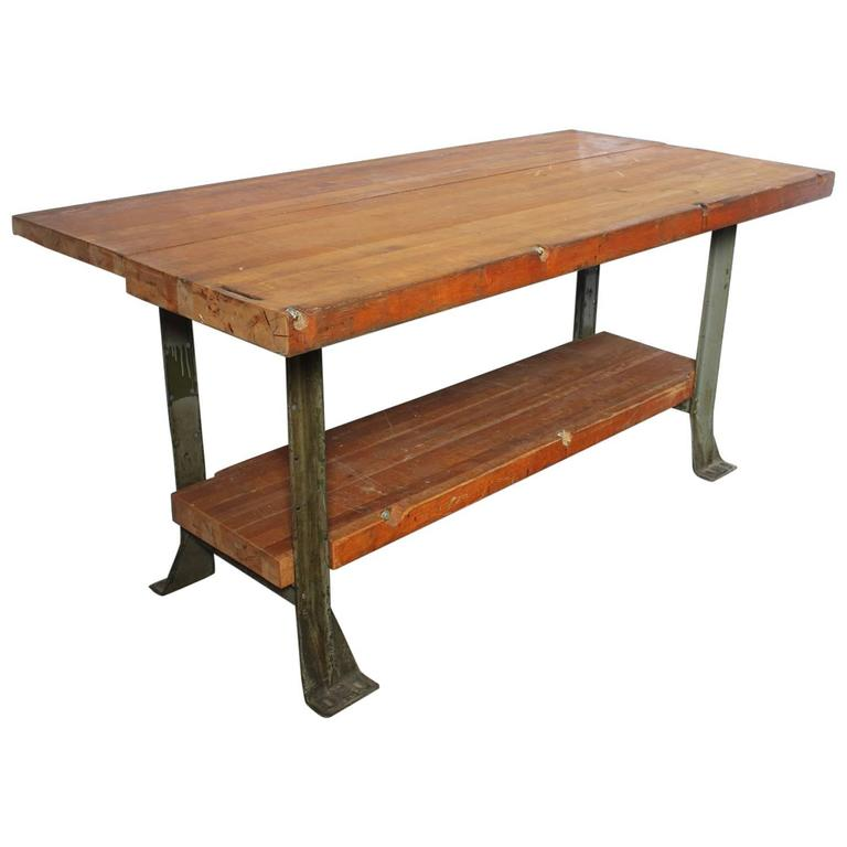Vintage American Industrial Work Table