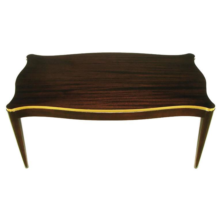 Davidson Ltd Ribbon Mahogany & Parcel Gilt Regency Coffee Table For Sale