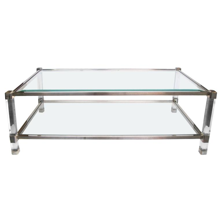 Chic french pierre vandel nickel glass and lucite for French glass coffee table