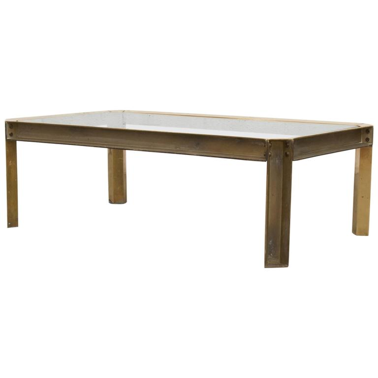 Frameless Glass Coffee Table: Peter Ghyzcy Raw Brass And Glass Industrial Style Coffee