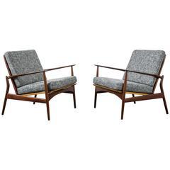 Pair of Danish Modern 'Spear' Lounge Chairs by Ib Kofod-Larsen