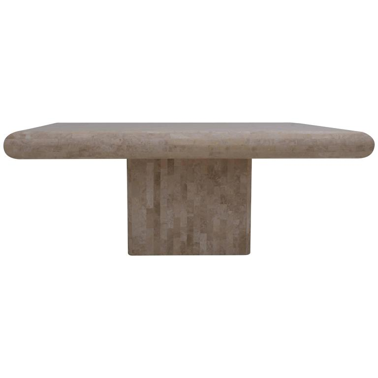 Tessellated Stone Maitland Smith Style Dining Table with Brass Inlay