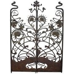 Monumental Art Nouveau Iron Gates, France, circa 1900, after Ernest Blérot