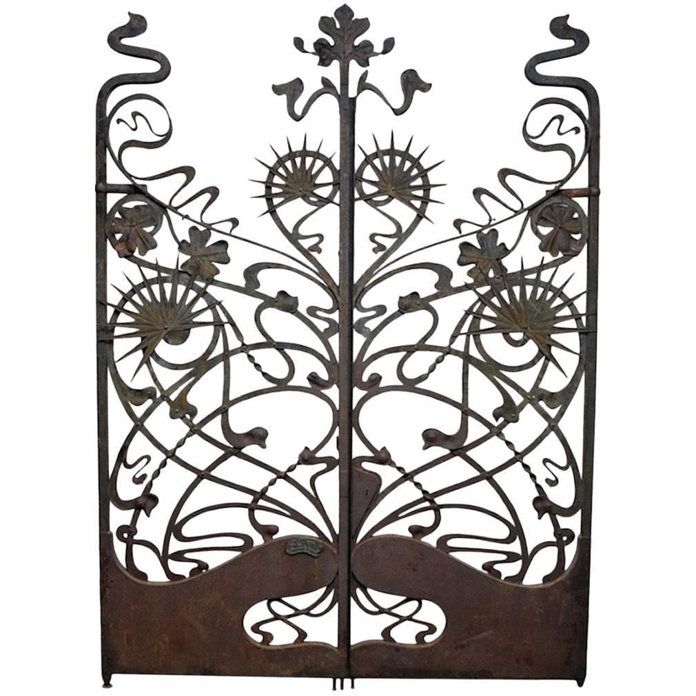 Monumental Art Nouveau Iron Gates France Circa 1900