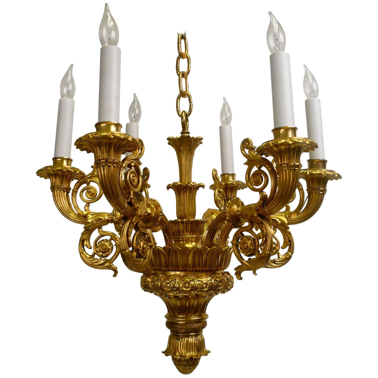 19th Century French Empire Style Six Light Gilt Bronze