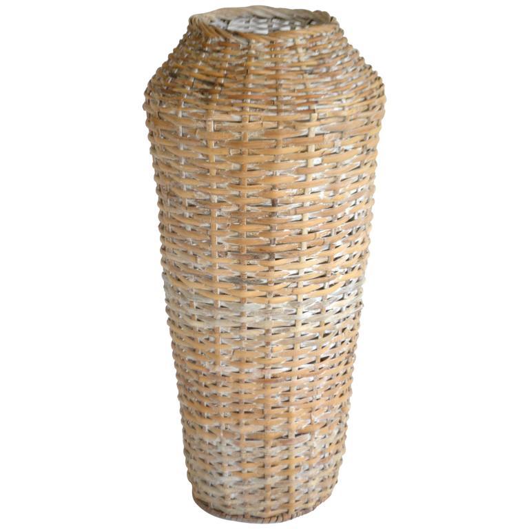 Sculptural Whitewashed Woven Rattan Basket