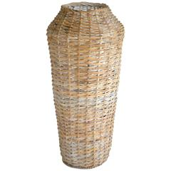 Sculptural Whitewashed Woven Rattan Basket