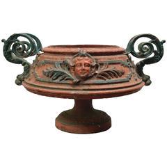 Antique 19th Century Cast Iron Italian Urn with Fancy Handles
