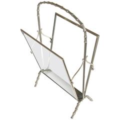 Chic French Maison Bagues 1940s Chrome and Glass Faux Bamboo Magazine Rack
