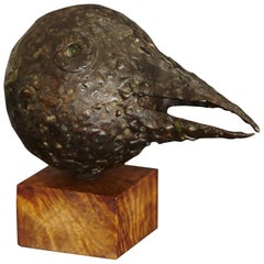Brutalist Style Bronze Sculpture Black Bird with Long Beak