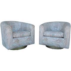 Vintage Pair of Modern Brass Barrel Swivel Chairs in Original Designer Fabric