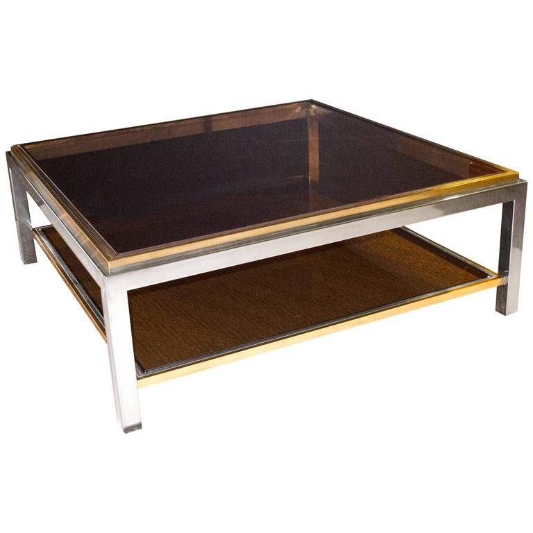 French Signed Maison Charles Square Brass and Chrome Coffee Table, Smoked Glass