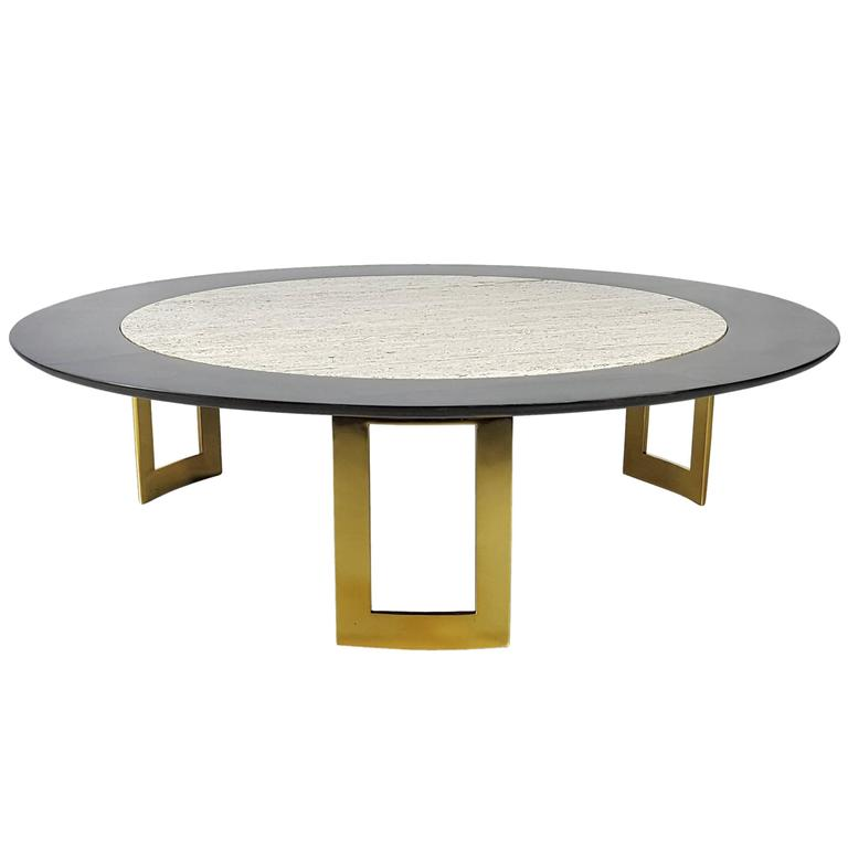 Massive And Awesome Lacquer And Travertine Coffee Table On