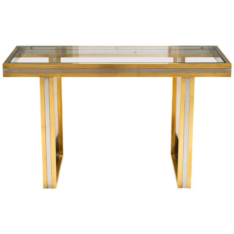 Maison Jansen Brass and Chrome Console Table