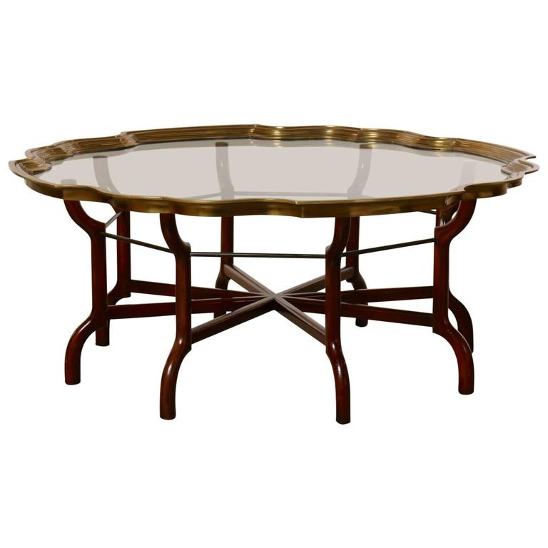 Baker brass and glass round tray top coffee table at 1stdibs Baker coffee table