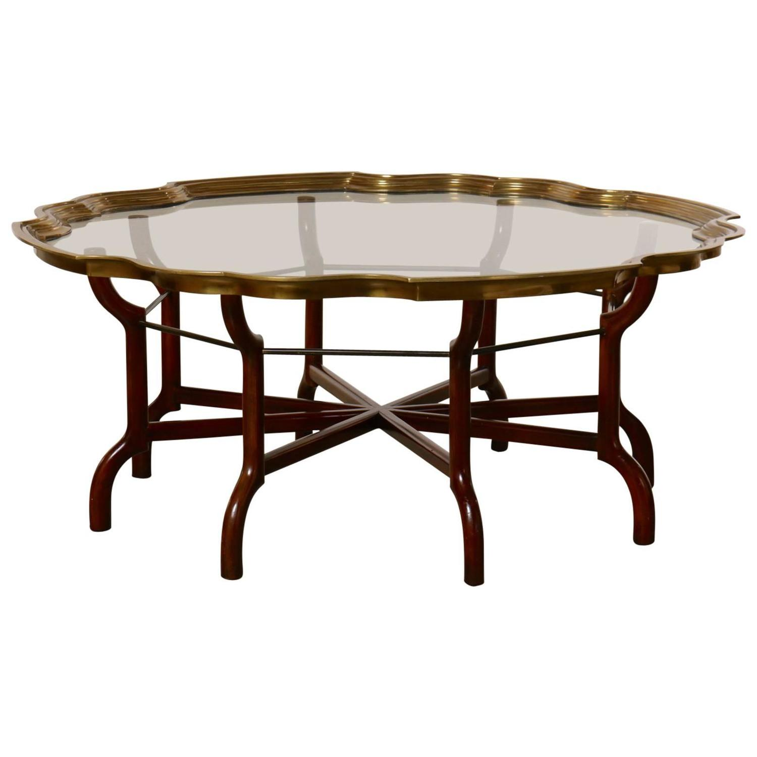 baker brass and glass round tray top coffee table at 1stdibs. Black Bedroom Furniture Sets. Home Design Ideas