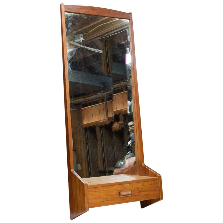 1950s Willy Beck Danish Teak Mirror Snedkermester København Vintage Mid-Century For Sale