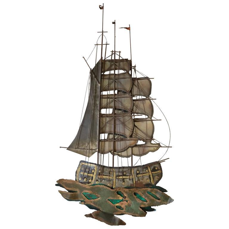 Brutalist Mid Century Ship Wall Sculpture