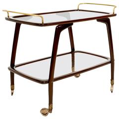Mid-Century Modern Italian Service Trolley Bar Cart Attributed to Cesare Lacca