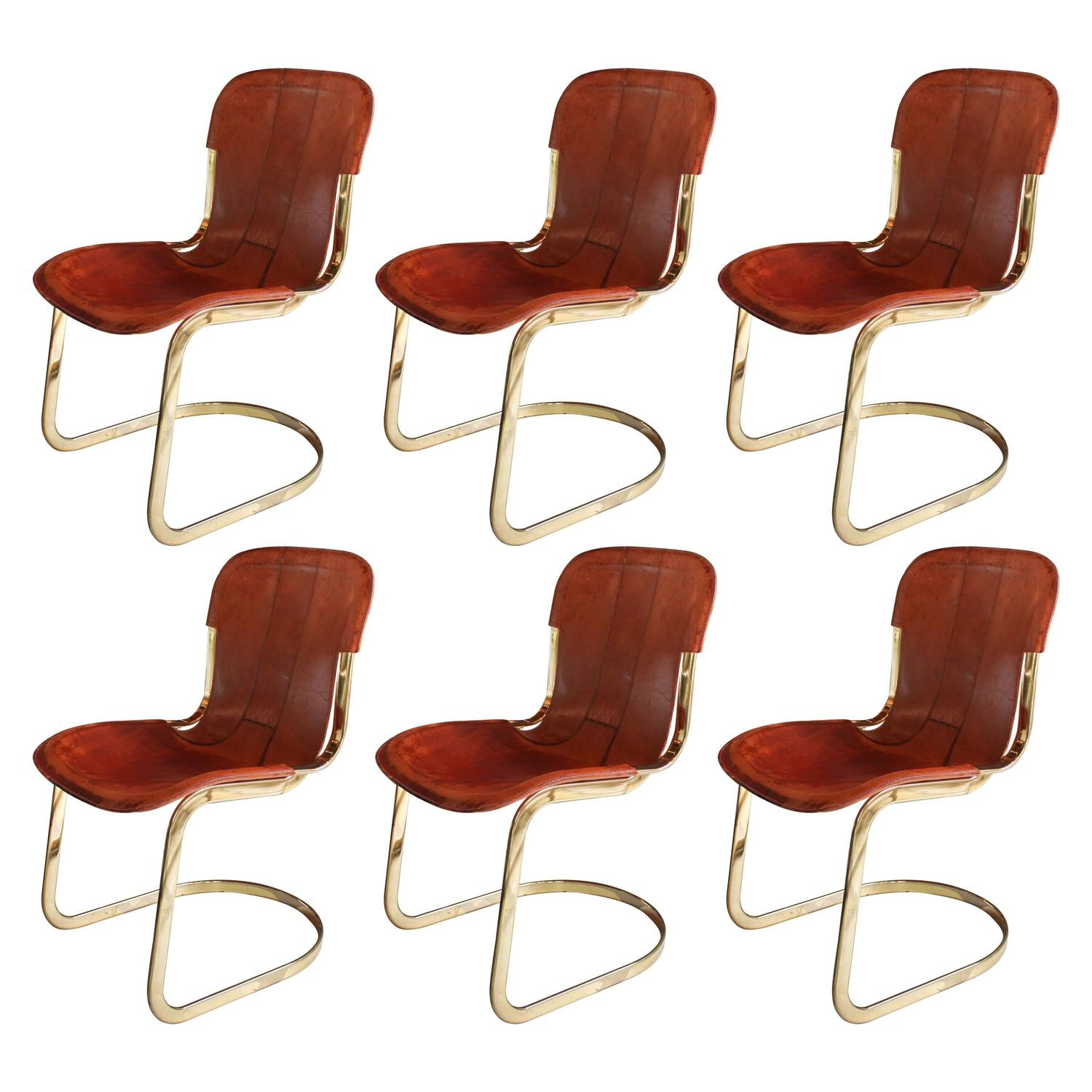 Italian Leather Dining Chairs: Set Of Six Italian Leather Dining Chairs Marked Cidue At