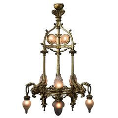 Bronze Chandelier, Royal Appearance with Mystic Dragons, circa 1900